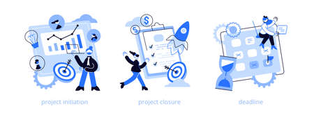 Project lifecycle abstract concept vector illustration set. Project