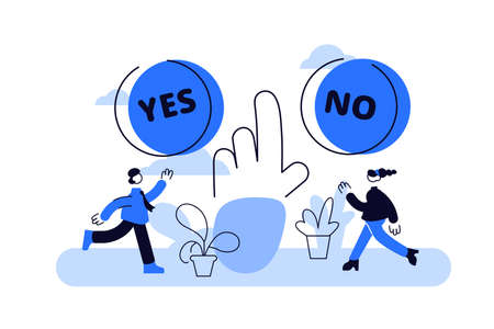 Choose vector illustration. Flat tiny options choice process persons concept