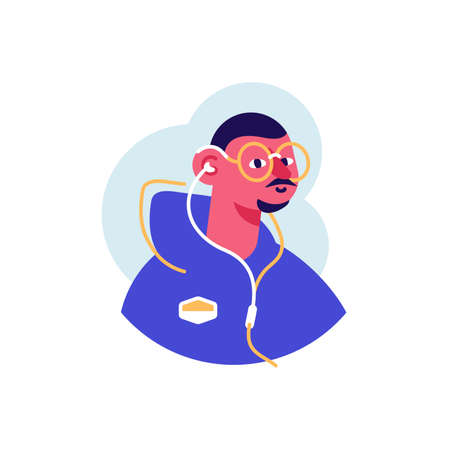 Avatar icon of handsome sporty man with moustache, beard