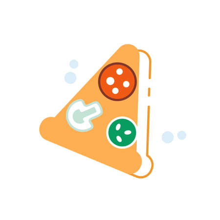 Slice of pizza with outline contour shadow simple vector