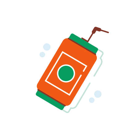 Soda drink in tin can with straw on top flat vector design 일러스트