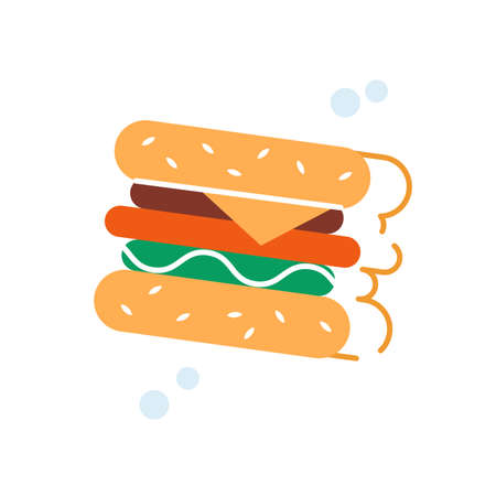 Tasty fresh burger logo icon with contour shadow vector