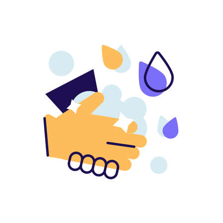 Washing hands hygiene with soap vector icon