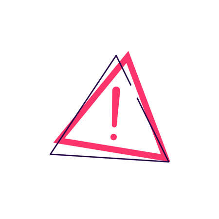 Exclamation mark in red triangle vector sign 일러스트