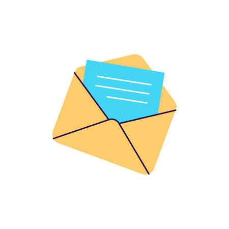 Letter in envelope message icon flat vector