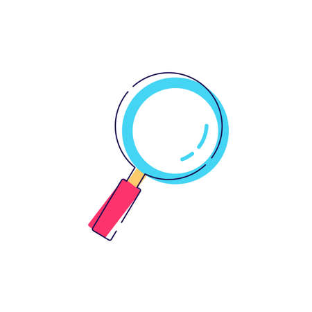 Magnifying glass icon cartoon flat vector sign