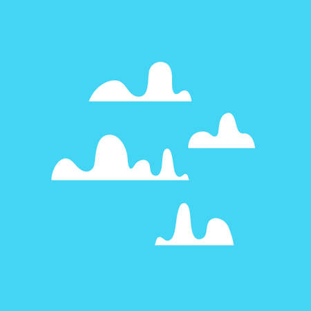 Funny clouds cartoon vector set on blue