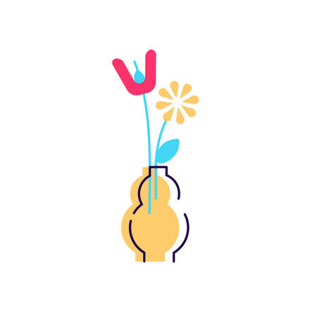 Flowers in vase cartoon flat vector icon