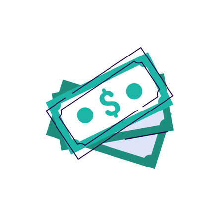 Money dollar sign cash stack icon vector