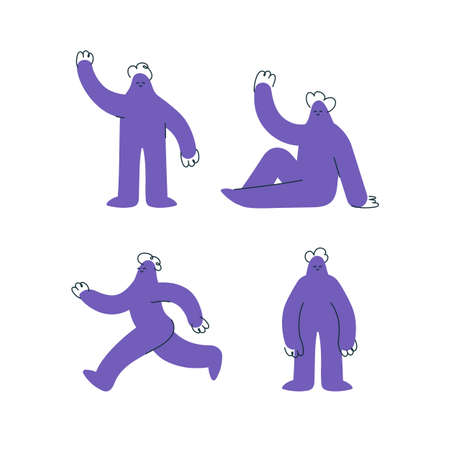 Set of funny purple hand drawn human characters on white 스톡 콘텐츠