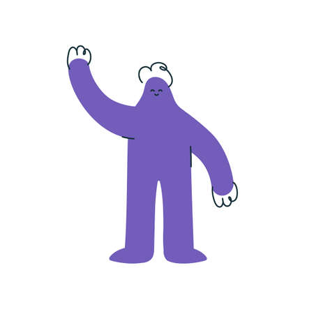 Positive purple hand drawn character raising arm on white 스톡 콘텐츠