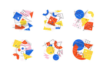Collage of funny hand drawn abstract geometric pictures