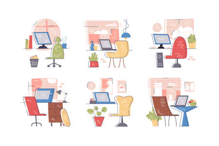 Collection of empty modern workplaces illustrations