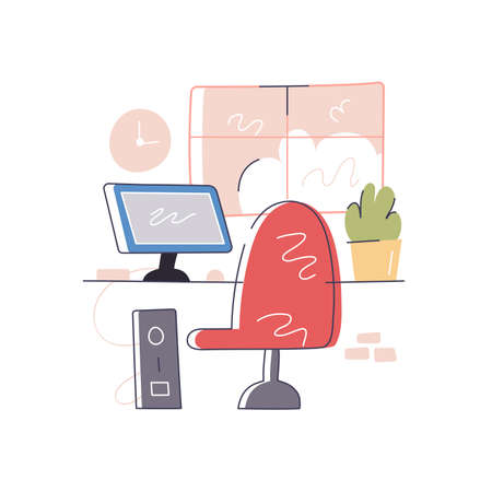 Comfortable workplace with computer near window image 스톡 콘텐츠