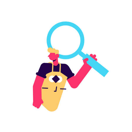 Builder man holding magnifying glass in hand