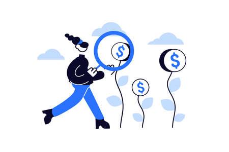 Woman with magnifier looking for money for donation Ilustración de vector