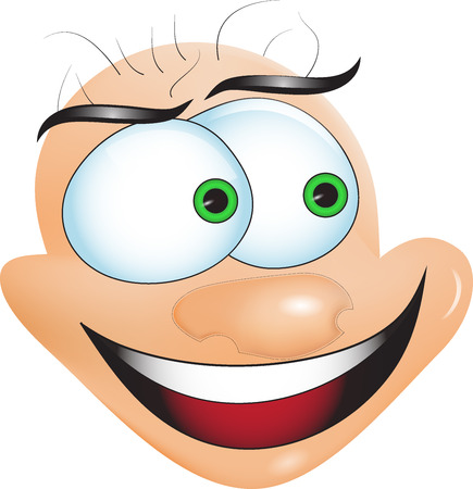 Cartoon funny face on a white background