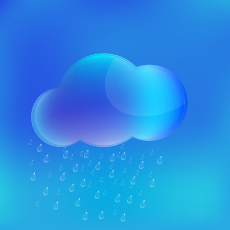 rain cloud with transparent raindrops falling obliquely from the wind