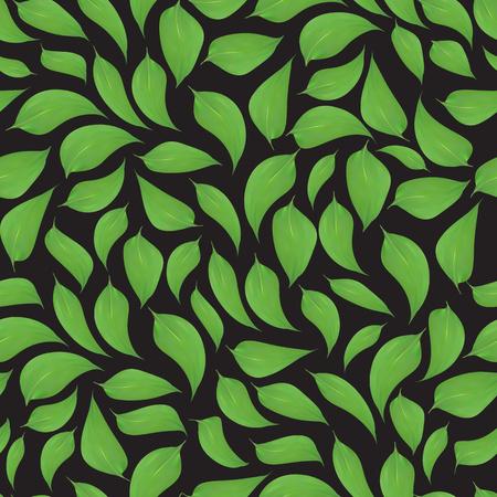 Green leaves seamless pattern on black backgroun,print