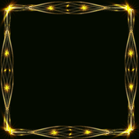 Gold frames with glare and radiance, blank for a card, isolated on black, wedding card,copy space