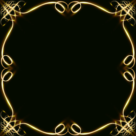 Gold frames with hearts, with glare and radiance, blank for a card, isolated on black, wedding card,copy space