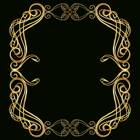 Decorative gold frame with gold elements, on a dark background, for invitation cards, wedding card decor, blank for the cover design Foto de archivo - 113576376
