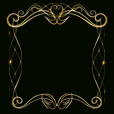 Decorative gold frame with gold elements, on a dark background, for invitation cards, wedding card decor, blank for the cover design Foto de archivo - 113576378