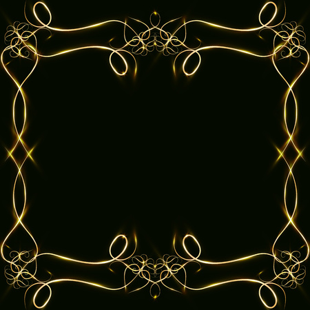 golden frame with hearts effects of light. Preparation for postcard Christmas wedding Shining rectangle. on a black background. illustration, Stock Photo