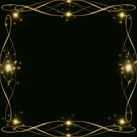 Golden decoration frame with sparkles and highlights, template for a Christmas, New Year card, Golden borders in the shape of a square on a dark backround