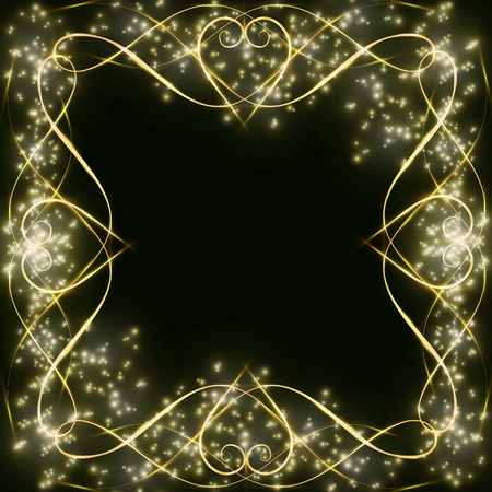 dark background with a pattern with hearts and glitters frame for greeting cards and decoration, borders for decoration