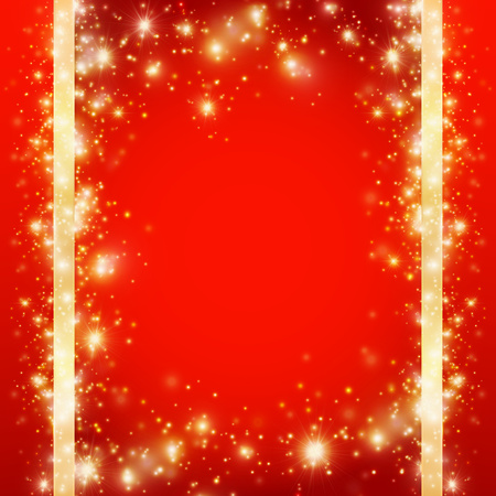 Red Christmas background with a frame of golden glittering snowflakes, vector illustration, blank for a card with gold monograms of sparkles