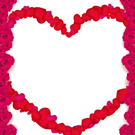 Frame of roses with a heart in the center10.blank for Valentines day postcard