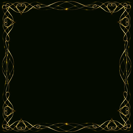 Golden iridescent frame with hearts highlight flashes and glitter for design postcards on a dark background. Zdjęcie Seryjne - 122915274