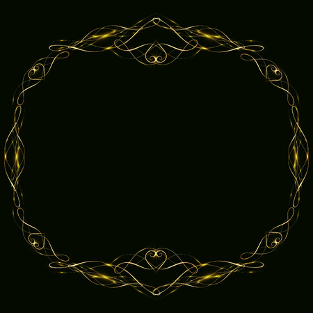 golden frame with hearts effects of light. Preparation for postcard Christmas wedding Shining rectangle. on a black background. illustration,10.round gold frame with stars of energy
