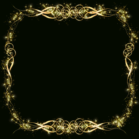 Vector golden frame with hearts effects of light. Preparation for postcard Christmas wedding Shining rectangle. on a black background Ilustracja