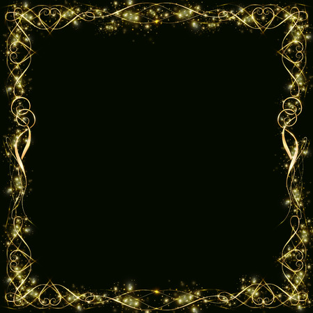 golden frame with hearts effects of light. Preparation for postcard Christmas wedding Shining rectangle. on a black background10 Zdjęcie Seryjne