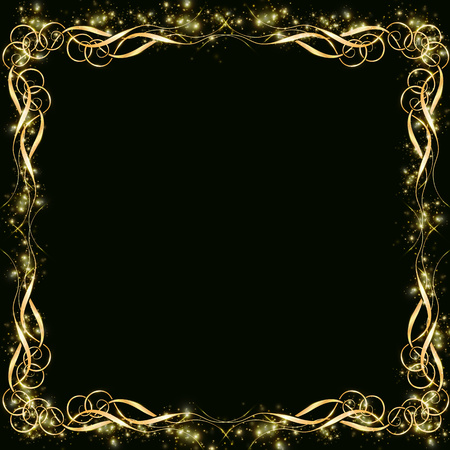 golden frame with effects of light. Preparation for postcard Christmas wedding Shining rectangle. on a black background10
