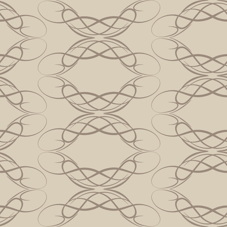 Seamless cream vector pattern of smooth lines in the shape of a circle isolated on coffee.EPS 10
