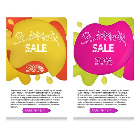 set of dynamic modern geometric and liquid mobile for summer sales of banners.Green yellow and pink colors, mesh Special offer and sale at a discount of up to 50 on a template design with editable tex