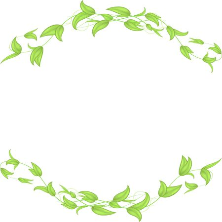 Horizontal vector border of leaves and stems with hearts in the shape of an arch.Isolated on a white background