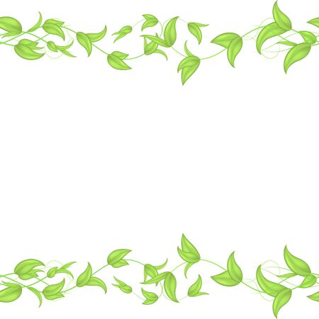 Vector horizontal seamless border with green wicker ivy sprouts and leaves with a heart on a white background.Blank for website heading, banner