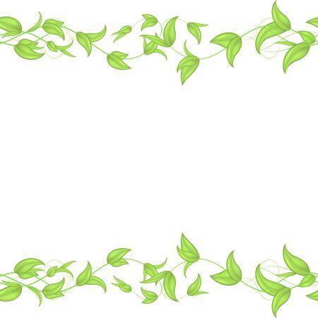 Vector horizontale nahtlose Grenze mit grünen Weiden-Efeu-Sprossen und -Blättern mit einem Herzen auf weißem Hintergrund. Leer für die Überschrift der Website, Banner Vektorgrafik