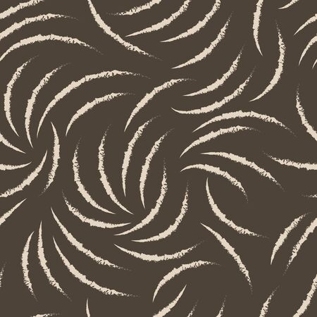 Abstract brown pattern of chaotic ragged arcs. Seamless linear pattern. Blank for printing on fabric on a dark background. Banque d'images - 129780439
