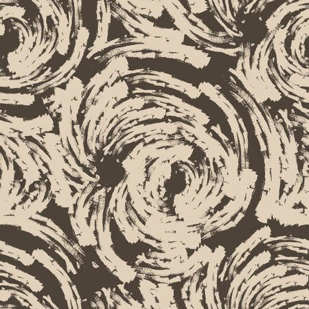 brown seamless pattern of lines or brush strokes in the form of arcs. patterned rose sketchy for fabrics on a dark background.Abstract illustration of ripples on the water Banque d'images - 129780443