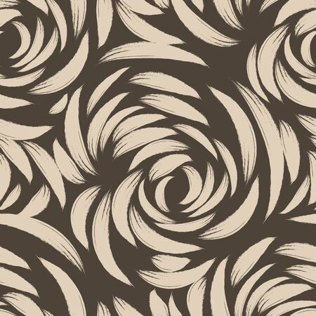 brown seamless pattern of lines or brush strokes in the form of arcs. patterned rose sketchy for fabrics on a dark background.Abstract illustration of ripples on the water