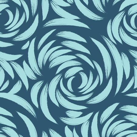 blue seamless pattern of lines or brush strokes in the form of arcs. patterned rose sketchy for fabrics on a dark background.Abstract illustration of ripples on the water Banque d'images - 129780453