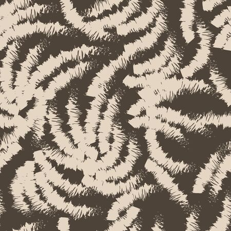 Abstract brown pattern of chaotic ragged arcs. Seamless linear pattern. Blank for printing on fabric on a dark background.