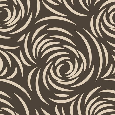 brown seamless pattern of lines or brush strokes in the form of arcs. patterned rose sketchy for fabrics on a dark background.Abstract illustration of ripples on the water Banque d'images - 129780554