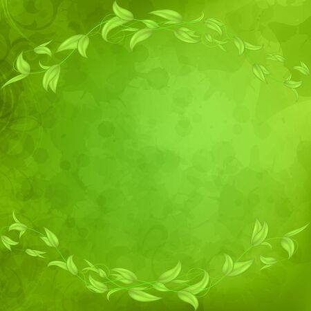Horizontal border of leaves and stems with hearts in the shape of an arch on a green background with blots and plants.Background with stains and splashes.