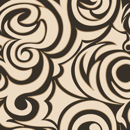 brown seamless pattern of spirals and curls. Decorative ornament for background Иллюстрация